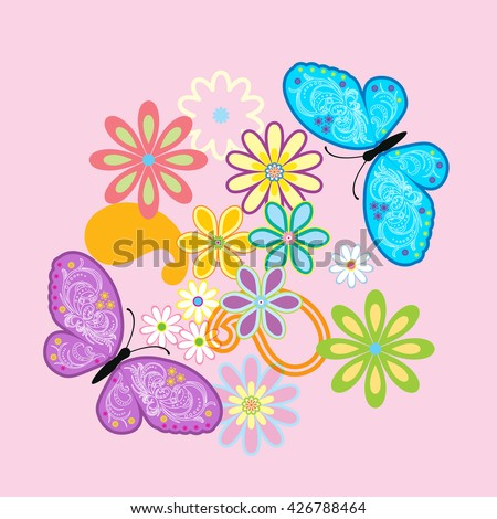 vector flowers and butterfly