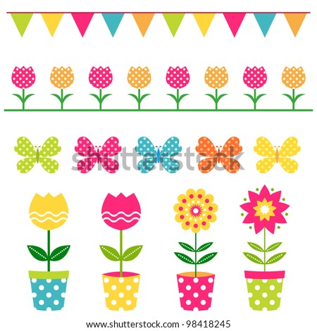 Vector flowers and design elements set