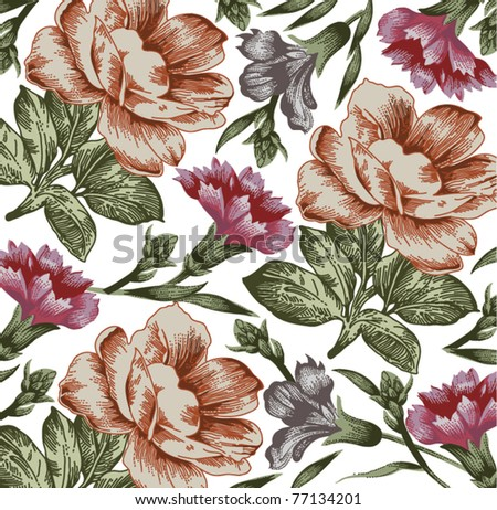 Vector. Flowers. Beautiful background with a flower ornament.
