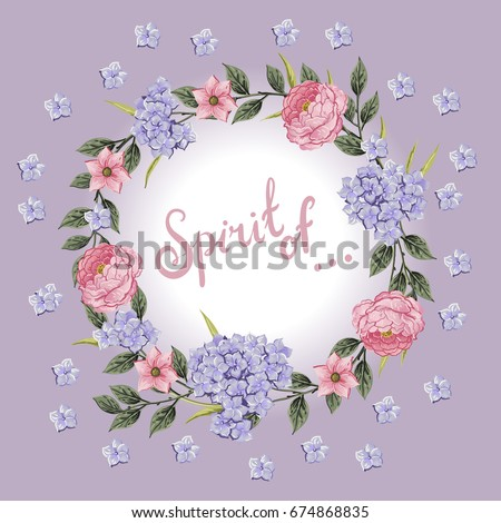 Vector flowers Beautiful wreath. Elegant floral collection with isolated blue,pink leaves and flowers, hand drawn watercolor with phrase Spirit of. Design for invitation, wedding or greeting cards #674868835