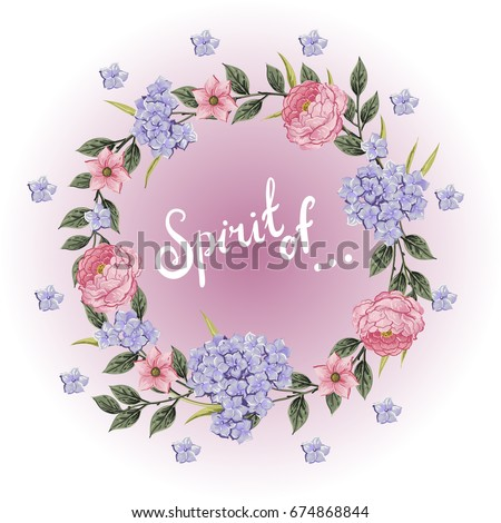 Vector flowers Beautiful wreath. Elegant floral collection with isolated blue,pink leaves and flowers, hand drawn watercolor with phrase Spirit of. Design for invitation, wedding or greeting cards #674868844
