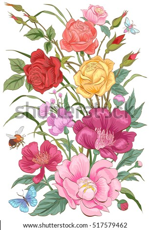 vector flowersbouquet of roses