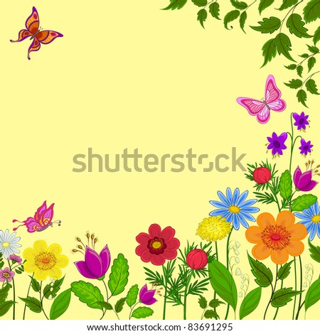 vector:flowers, butterflies and leaves on a yellow background
