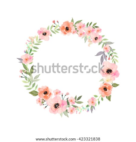 Vector flowers set. Beautiful wreath. Elegant floral collection with isolated blue,pink leaves and flowers, hand drawn watercolor. Design for invitation, wedding or greeting cards