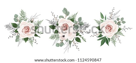 Vector flowers set. Colorful floral collection with leaves and flowers. #1124590847