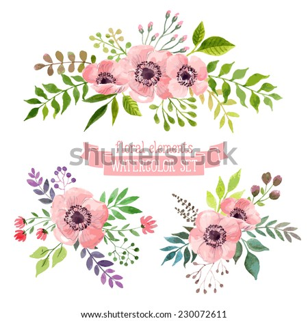 Vector flowers set. Colorful floral collection with leaves and flowers, drawing watercolor. Spring or summer design for invitation, wedding or greeting cards