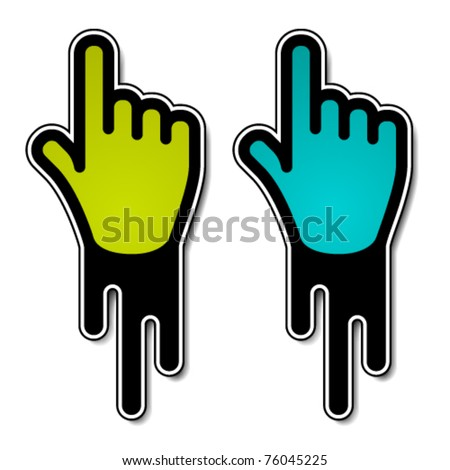 vector flowing hand pointer labels - stock vector