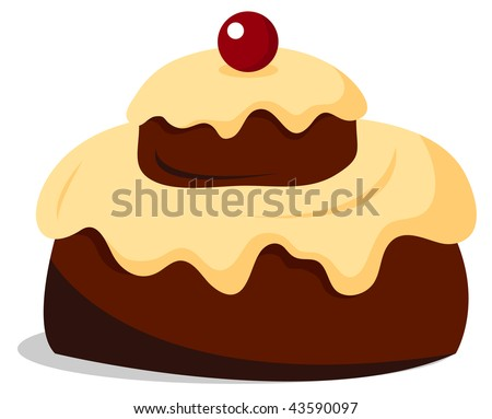 Cake With Icing Vector : Vector Fluffy Chocolate Cake With Vanilla Icing ...