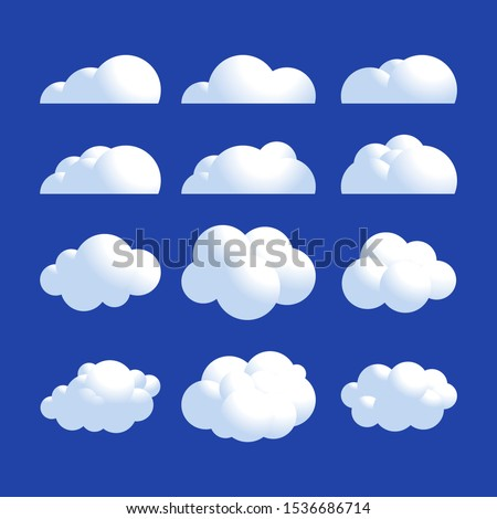Vector Fluffy 3d realistic cloud icon set. Shine sky weather clean vector set isolated on blue. Cloudscape and 3d clouds nature fluffy in air. 3d cloud icon set