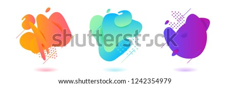 Vector fluid gradient liquid abstract geometric shapes stock photo