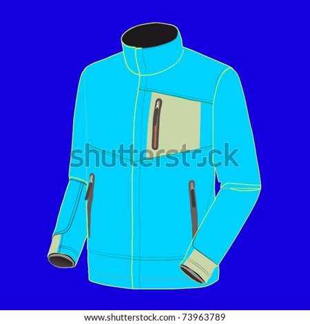 vector fluorescent blue hooded jacket