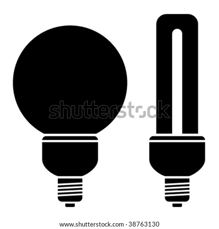 vector fluorescent compact bulbs - stock vector