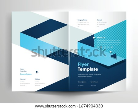 Vector flyer brochure layout design templates, company profile, magazine, poster, annual report, book covers and booklet, with blue triangle shape design element in A4 size with bleed.