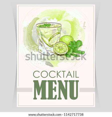 Vector flyer, cover menu with a caipirinha cocktail image