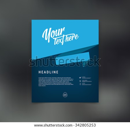 Vector flyer design template with origami style paper speech bubble