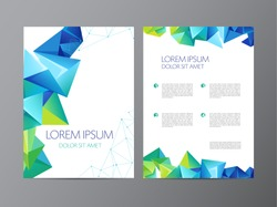 vector flyer, green and blue brochure abstract design 2 sides, background, cover. Modern crystal, geometric