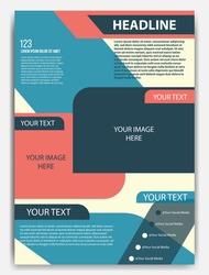 Vector flyer template design. For business brochure, leaflet or magazine cover. Blue color