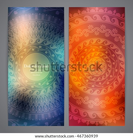 vector flyers with mandala in