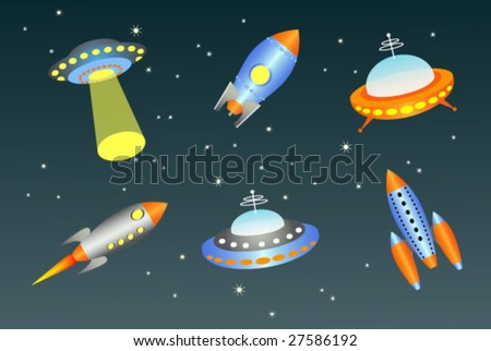 vector flying saucers and spaceships