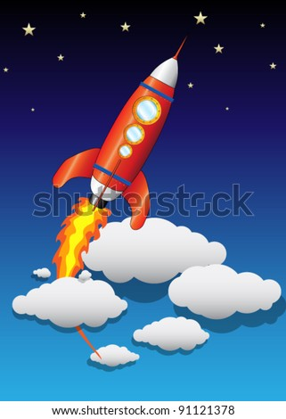 Vector Flying Space Ship with Clouds and Stars