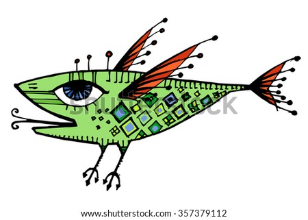 vector flying strange cartoon