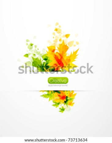 Vector flying summer abstract leaves. Summer nature background. Hot orange and green leaf design - stock vector