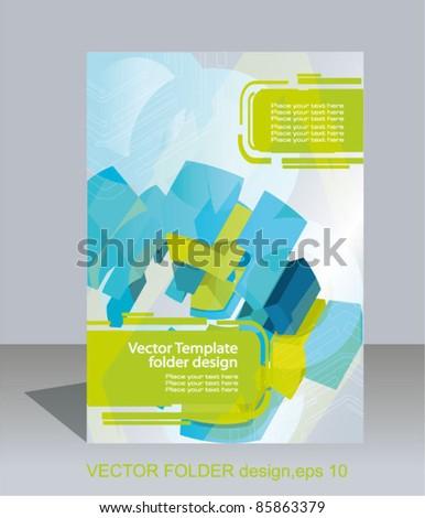 Vector folder design. 3d abstract elements - stock vector