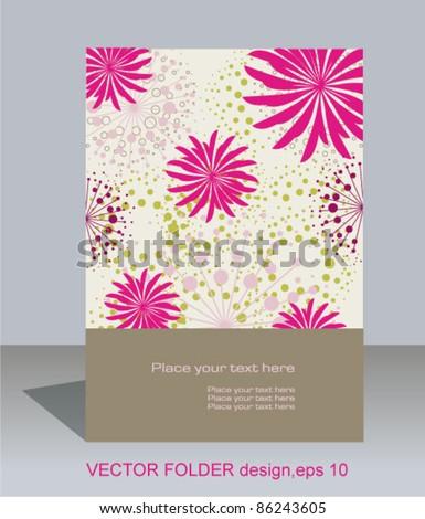 Vector folder design on floral background