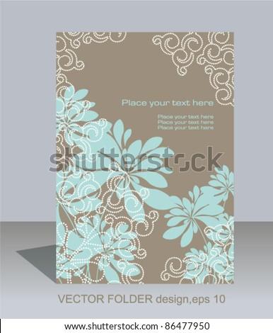 Vector folder design on floral lace background - stock vector