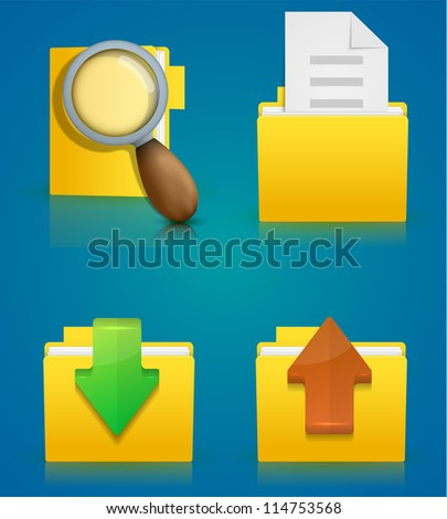 Vector folder icon set on blue background. Eps10