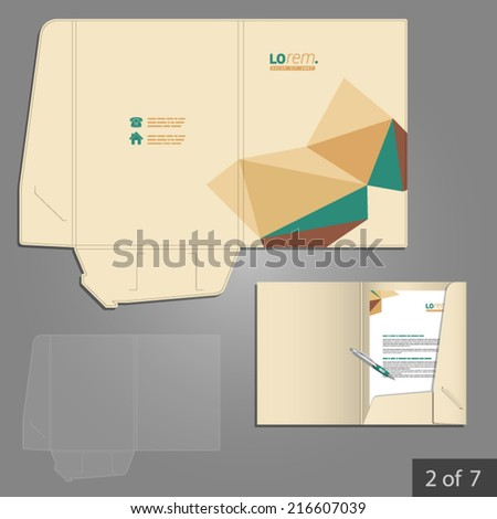 Vector folder template design for company with origami elements. Element of stationery.