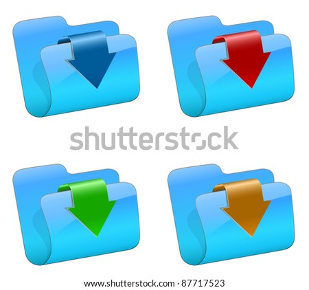 Vector folders with color arrow - stock vector