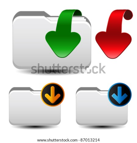 Vector folders with paper sheet and download arrow