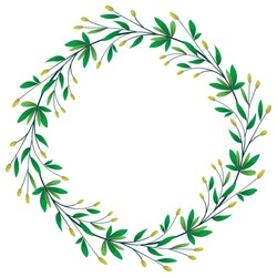Vector foliate wreath; round floral frame for greeting cards, invitations, posters, banners.