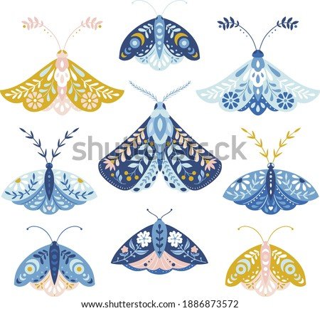Vector folk art moths set isolated on a white background Сток-фото ©