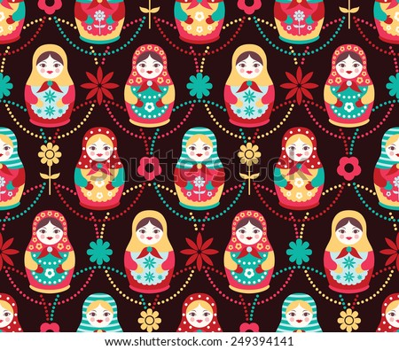 vector folk seamless pattern