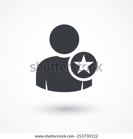 Vector Following Account Icon. Ideal Man. Avatar sign, Favorite man with star. User icon. Good man symbol. Best quality person icon