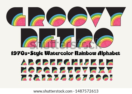 Vector font: A groovy retro extra bold watercolor rainbow alphabet with a 1970s look.  Stock foto ©