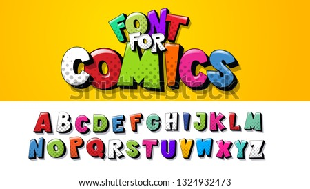 Vector font alphabet. The font is perfect for comic design. Letters can be used in children's booklets posters in cartoon screensavers. Set of letters in the style of pop art comics. English language