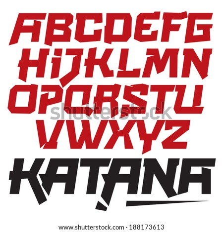 Vector font. Cool modern dynamic type. Asia, Japan You can easily tweak it to make your own unique lettering