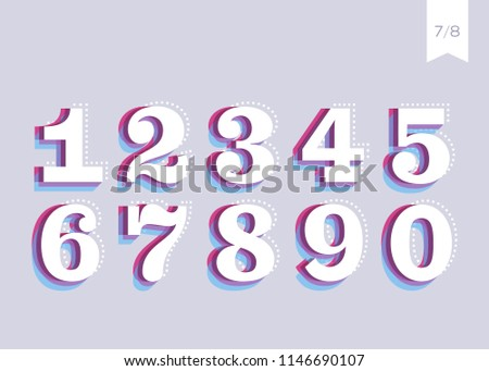Vector Font Design. Creative Poster Typeface. Abstract Urban Typography. Headline Typeface in Retro or Vintage Style. Abstract 3D Numbers. Colorful Trendy Text Design for Banner, Print, Magazine.