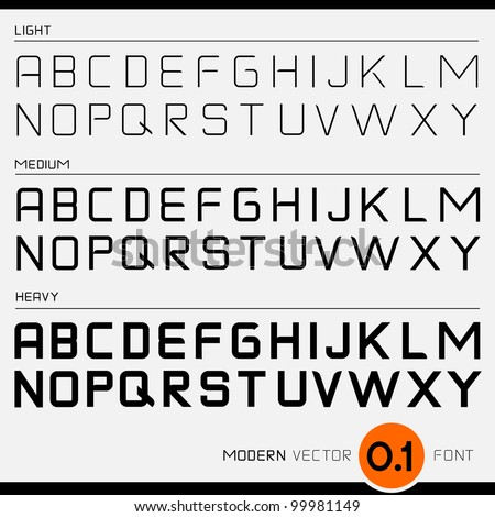 Vector Font Design Light, Medium and Bold.