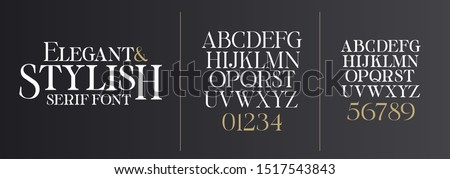 vector font illustration. Stylish elegant thin vector composite font serif. set of letters English alphabet. uppercase letters, lowercase letters and numbers