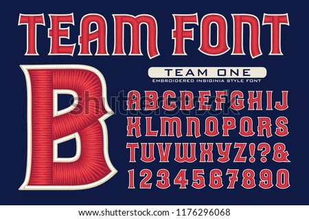 Vector font in sports team embroidery style. This lettering is ideal for sports icons, logos, insignias, etc. Full alphabet, numbers, and some punctuation included.
