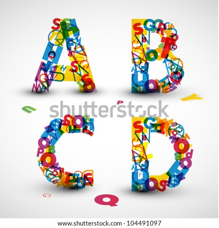 Vector font made from color letters of the alphabet