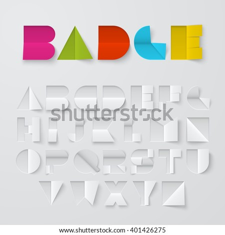 Vector font made of cutted and folded paper. Latin alphabet, letters from A to Z. Easy to apply different colors.