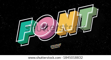 Vector font slanted 3d bold style modern typography for infographics, motion graphics, video, promotion, decoration, logotype, party poster, t shirt, book, animation, banner, game, printing. 10 eps