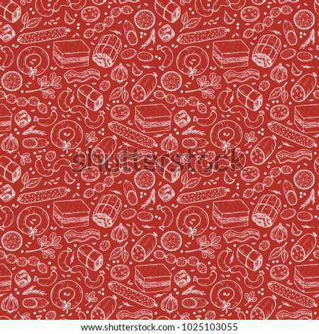 Vector Food background. Sausages Seamless pattern. Vector Meat products: Ready sausage, bacon, sliced saveloy, sausage, spicy pepperoni, smoked sausages, salami, baked meatloaf, frankfurters