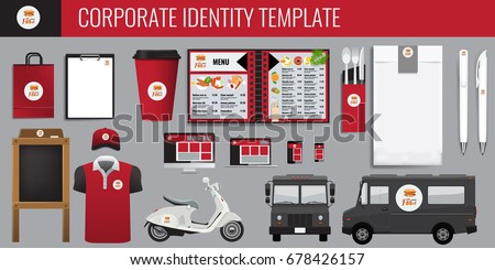 Vector food corporate identity template design set. Red and black color Branding mock up for your design. Illustrated vector.