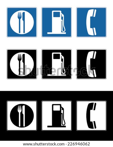 Vector Food, Gas and Telephone Sign Set